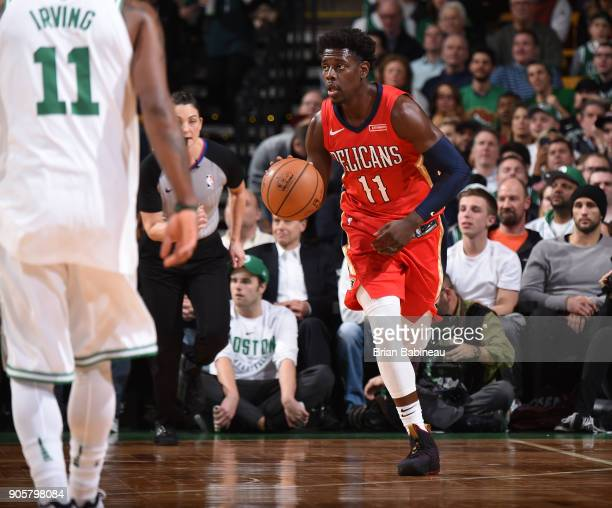 Jrue Holiday of the New Orleans Pelicans brings the ball up court against the Boston Celtics on January 16 2018 at the TD Garden in Boston...