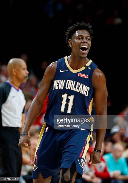 Jrue Holiday of the New Orleans Pelicans celebrates against the Portland Trail Blazers during Game Two of the Western Conference Quarterfinals during...