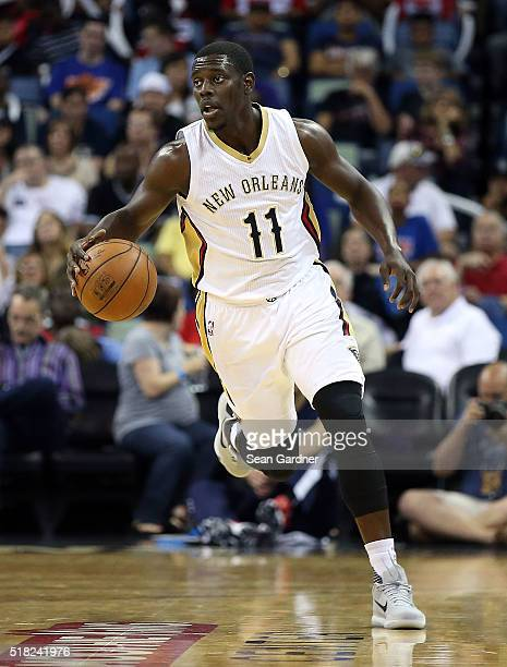 Jrue Holiday of the New Orleans Pelicans dribbles down the court during the first half against the New York Knicksat the Smoothie King Center on...
