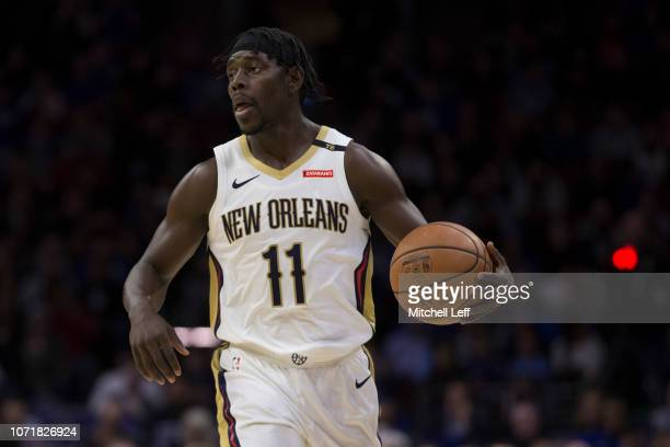 Jrue Holiday of the New Orleans Pelicans dribbles the ball against the Philadelphia 76ers at the Wells Fargo Center on November 21 2018 in...