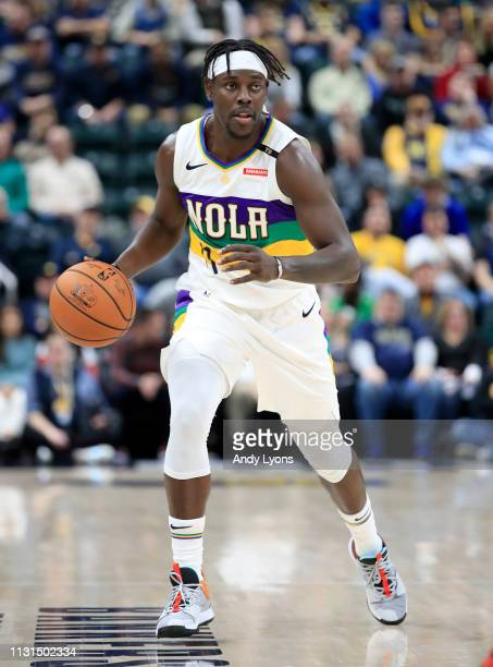 Jrue Holiday of the New Orleans Pelicans dribbles the ball against the Indiana Pacers at Bankers Life Fieldhouse on February 22 2019 in Indianapolis...