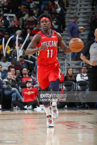 Jrue Holiday of the New Orleans Pelicans dribbles the ball during the game against the Utah Jazz on March 6 2019 at the Smoothie King Center in New...