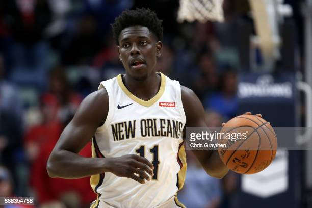 Jrue Holiday of the New Orleans Pelicans drives the ball up the court against the Orlando Magic at the Smoothie King Center on October 30 2017 in New...