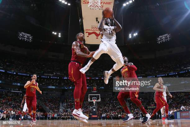 Jrue Holiday of the New Orleans Pelicans drives to the basket against the Cleveland Cavaliers on October 28 2017 at the Smoothie King Center in New...