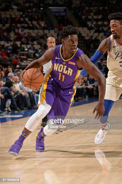 Jrue Holiday of the New Orleans Pelicans drives to the basket against the Philadelphia 76ers at Wells Fargo Center on February 9 2018 in Philadelphia...