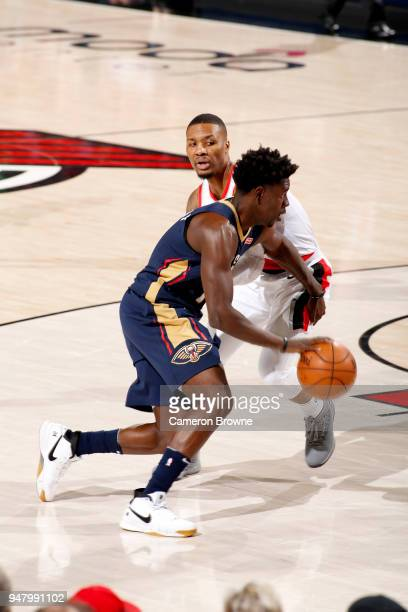 Jrue Holiday of the New Orleans Pelicans drives to the basket against the Portland Trail Blazers in Game Two of Round One of the 2018 NBA Playoffs on...