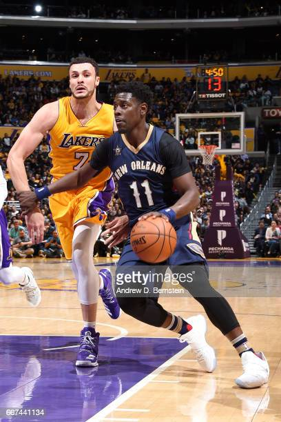 Jrue Holiday of the New Orleans Pelicans drives to the basket during the game against the Los Angeles Lakers on April 11 2017 at STAPLES Center in...
