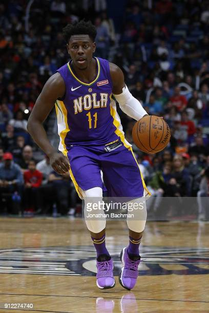 Jrue Holiday of the New Orleans Pelicans drives with the ball druing the first half against the LA Clippers at the Smoothie King Center on January 28...