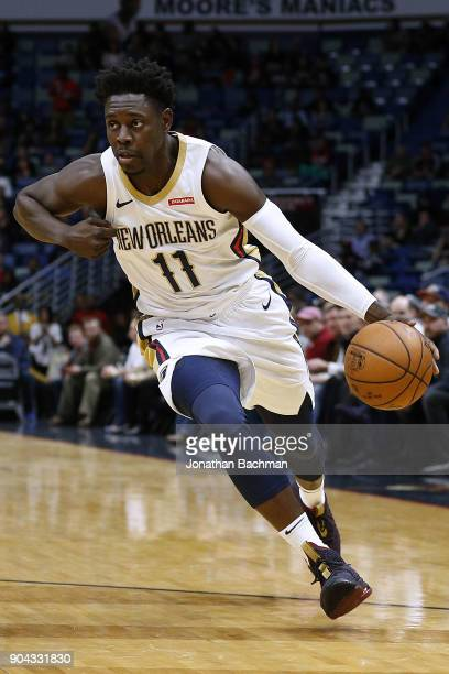 Jrue Holiday of the New Orleans Pelicans drives with the ball during the first half against the Detroit Pistons at the Smoothie King Center on...