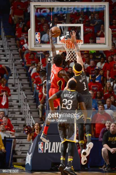 Jrue Holiday of the New Orleans Pelicans dunks the ball against the Golden State Warriors in Game Three of the Western Conference Semifinals during...