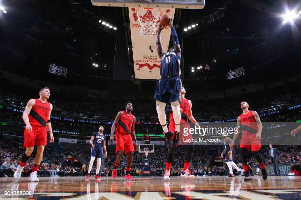 Jrue Holiday of the New Orleans Pelicans goes to the basket against the Portland Trail Blazers on January 12 2018 at the Smoothie King Center in New...