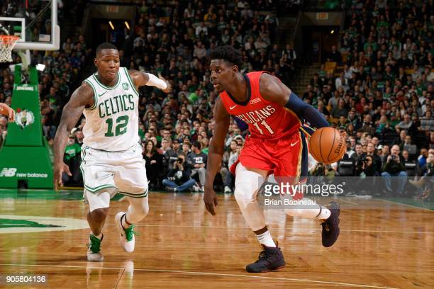 Jrue Holiday of the New Orleans Pelicans handles the ball against Terry Rozier of the Boston Celtics on January 16 2018 at the TD Garden in Boston...