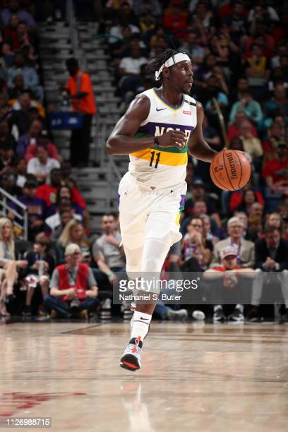 Jrue Holiday of the New Orleans Pelicans handles the ball against the Los Angeles Lakers on February 23 2019 at the Smoothie King Center in New...