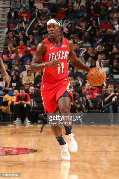 Jrue Holiday of the New Orleans Pelicans handles the ball against the LA Clippers on November 14 2019 at the Smoothie King Center in New Orleans...