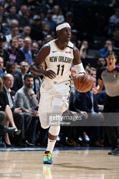 Jrue Holiday of the New Orleans Pelicans handles the ball against the Minnesota Timberwolves on March 8 2020 at Target Center in Minneapolis...