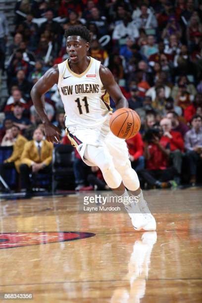 Jrue Holiday of the New Orleans Pelicans handles the ball against the Cleveland Cavaliers on October 28 2017 at the Smoothie King Center in New...