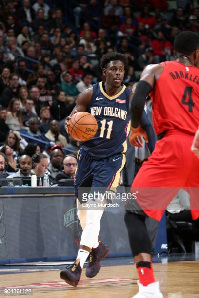 Jrue Holiday of the New Orleans Pelicans handles the ball against the Portland Trail Blazers on January 12 2018 at the Smoothie King Center in New...