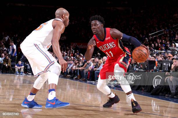 Jrue Holiday of the New Orleans Pelicans handles the ball against the New York Knicks on January 14 2018 at Madison Square Garden in New York City...