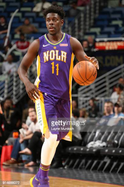 Jrue Holiday of the New Orleans Pelicans handles the ball against the Utah Jazz on February 5 2018 at Smoothie King Center in New Orleans Louisiana...