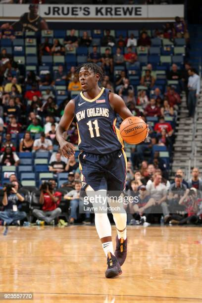 Jrue Holiday of the New Orleans Pelicans handles the ball against the Miami Heat on February 23 2018 at Smoothie King Center in New Orleans Louisiana...
