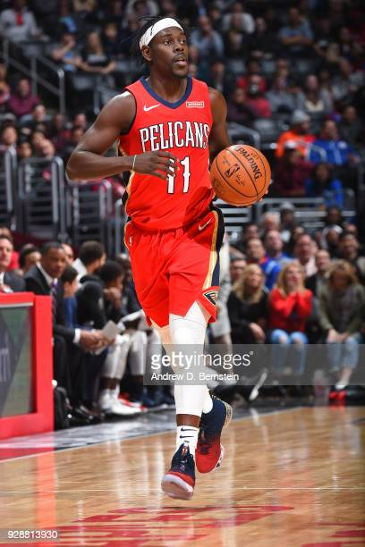 Jrue Holiday of the New Orleans Pelicans handles the ball against the LA Clippers on March 6 2018 at STAPLES Center in Los Angeles California NOTE TO...