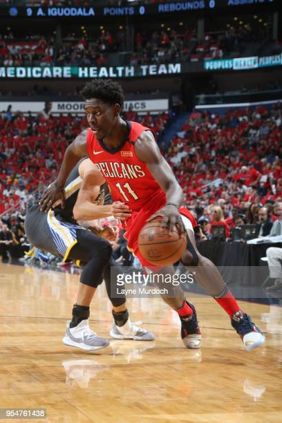 Jrue Holiday of the New Orleans Pelicans handles the ball against the Golden State Warriors during Game Three of the Western Conference Semi Finals...