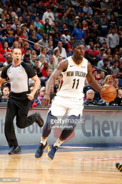Jrue Holiday of the New Orleans Pelicans handles the ball during the game against the Utah Jazz on March 11 2018 at the Smoothie King Center in New...