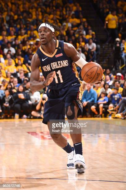 Jrue Holiday of the New Orleans Pelicans handles the ball during the game against the Golden State Warriors in Game One of Round Two of the 2018 NBA...