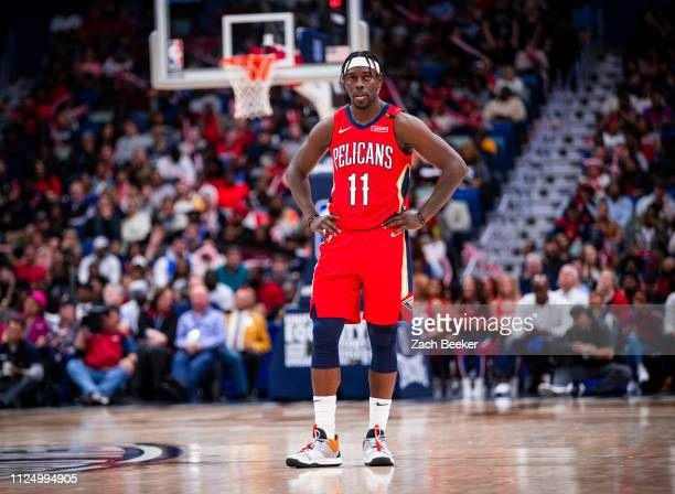 Jrue Holiday of the New Orleans Pelicans looks on during the game against the Oklahoma City Thunder on February 14 2019 at the Smoothie King Center...