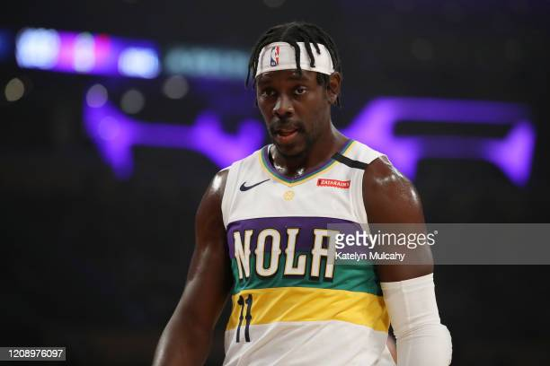 Jrue Holiday of the New Orleans Pelicans looks on in a game against the Los Angeles Lakers during the first half at Staples Center on February 25...