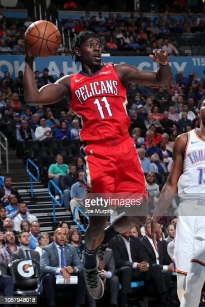 Jrue Holiday of the New Orleans Pelicans looks to pass against the Oklahoma City Thunder on November 5 2018 at Chesapeake Energy Arena in Oklahoma...