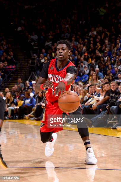 Jrue Holiday of the New Orleans Pelicans passes the ball against the Golden State Warriors on April 8 2017 at ORACLE Arena in Oakland California NOTE...