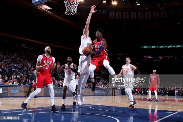Jrue Holiday of the New Orleans Pelicans passes the ball against the New York Knicks on January 14 2018 at Madison Square Garden in New York City New...