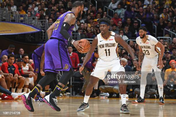 Jrue Holiday of the New Orleans Pelicans plays defense against during the game against LeBron James of the Los Angeles Lakers on December 21 2018 at...