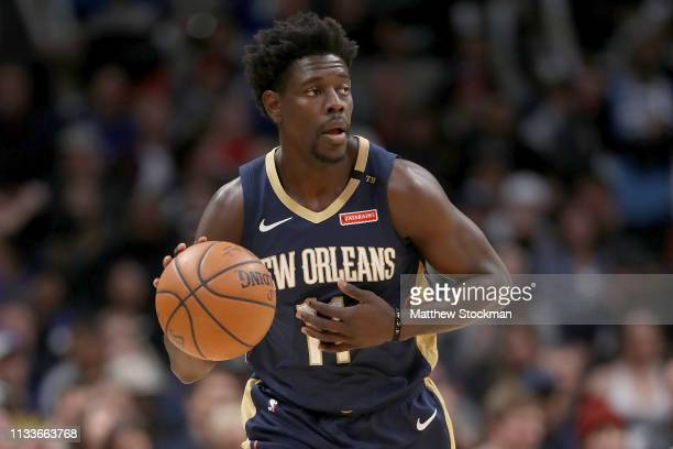 Jrue Holiday of the New Orleans Pelicans plays the Denver Nuggets at the Pepsi Center on March 02 2019 in Denver Colorado NOTE TO USER User expressly...