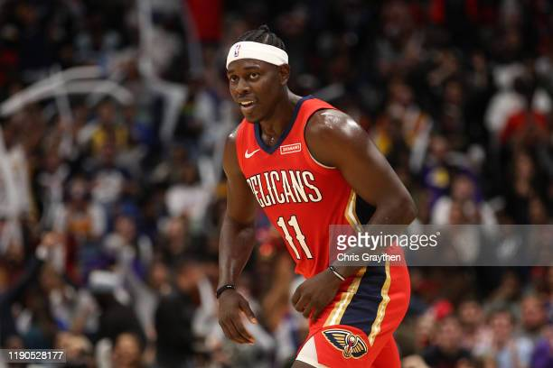 Jrue Holiday of the New Orleans Pelicans reacts after a three point shot against the Los Angeles Lakers at Smoothie King Center on November 27 2019...