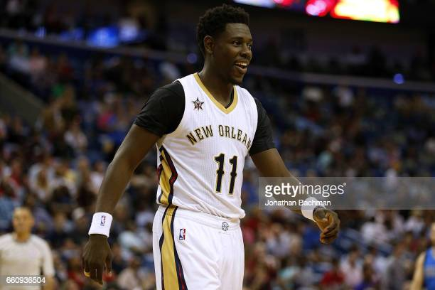 Jrue Holiday of the New Orleans Pelicans reacts during the first half of a game against the Dallas Mavericks at the Smoothie King Center on March 29...