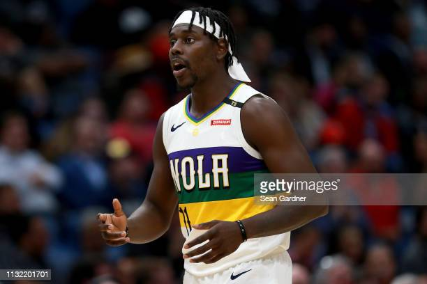 Jrue Holiday of the New Orleans Pelicans reacts to a play during the second half of a game against the Philadelphia 76ers at the Smoothie King Center...