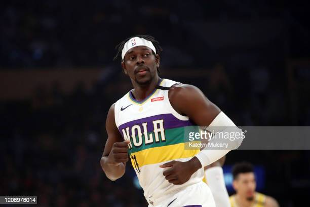 Jrue Holiday of the New Orleans Pelicans runs on the court in a game against the Los Angeles Lakers during the first half at Staples Center on...