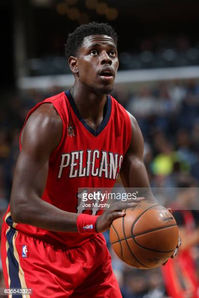 Jrue Holiday of the New Orleans Pelicans shoots a free throw during a game against the Memphis Grizzlies on February 15 2017 at FedExForum in Memphis...