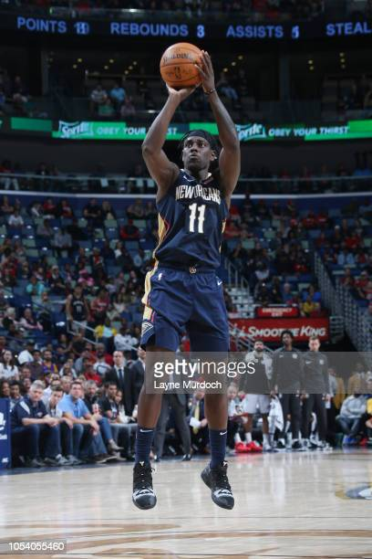 Jrue Holiday of the New Orleans Pelicans shoots the ball against the Brooklyn Nets on October 26 2018 at the Smoothie King Center in New Orleans...