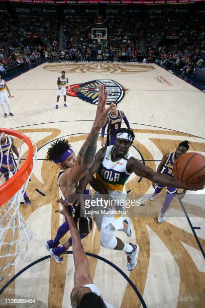 Jrue Holiday of the New Orleans Pelicans shoots the ball against the Los Angeles Lakers on February 23 2019 at the Smoothie King Center in New...