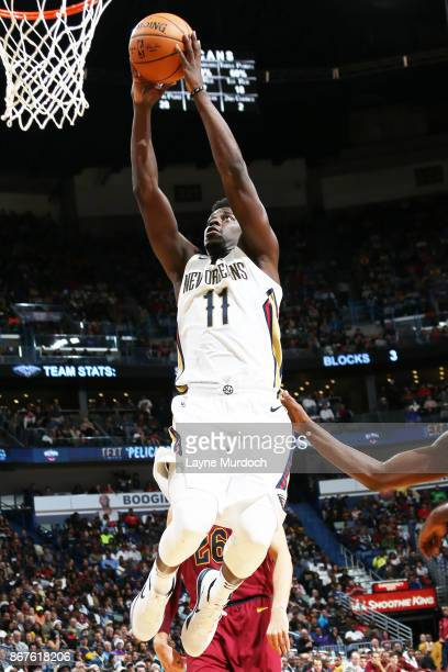 Jrue Holiday of the New Orleans Pelicans shoots the ball against the Cleveland Cavaliers on October 28 2017 at the Smoothie King Center in New...