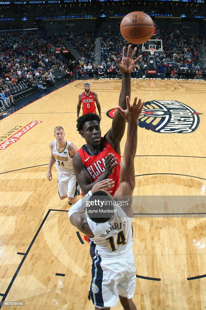 Jrue Holiday #11 of the New Orleans Pelicans shoots the ball against the Denver Nuggets on December 6, 2017 at Smoothie King Center in New Orleans, Louisiana.