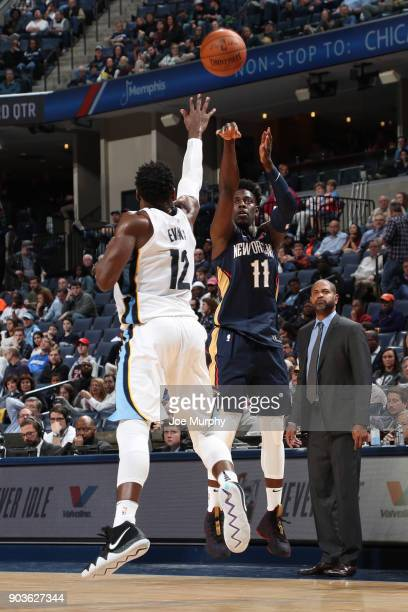 Jrue Holiday of the New Orleans Pelicans shoots the ball against the Memphis Grizzlies on January 10 2018 at FedExForum in Memphis Tennessee NOTE TO...