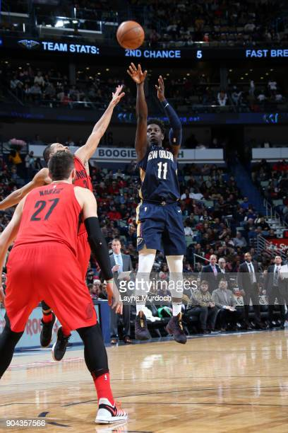 Jrue Holiday of the New Orleans Pelicans shoots the ball against the Portland Trail Blazers on January 12 2018 at the Smoothie King Center in New...