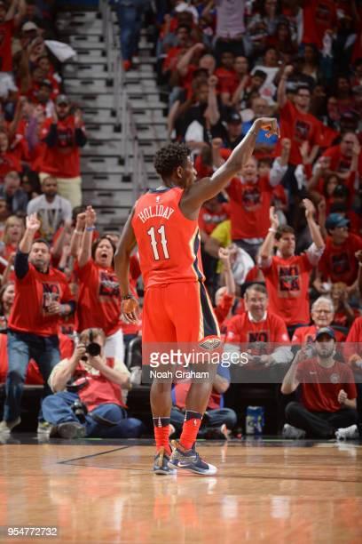 Jrue Holiday of the New Orleans Pelicans shoots the ball against the Golden State Warriors in Game Three of the Western Conference Semifinals during...