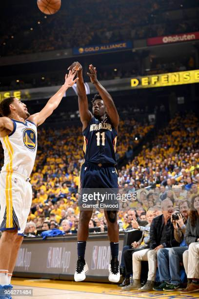 Jrue Holiday of the New Orleans Pelicans shoots the ball against the Golden State Warriors in Game Five of the Western Conference Semifinals of the...
