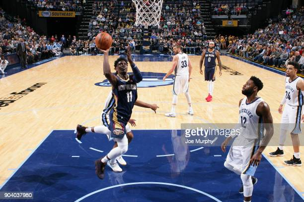 Jrue Holiday of the New Orleans Pelicans shoots the ball during the game against the Memphis Grizzlies on January 10 2018 at FedExForum in Memphis...