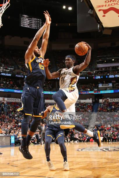 Jrue Holiday of the New Orleans Pelicans shoots the ball during the game against the Utah Jazz on March 11 2018 at the Smoothie King Center in New...